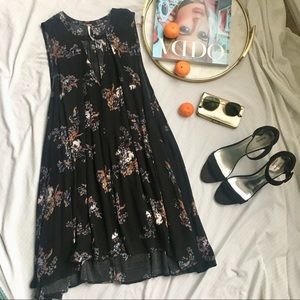Free People Black Floral Trapeze Dress